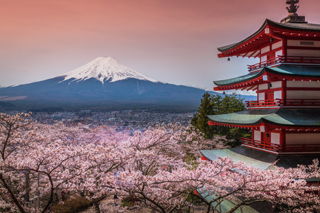 Chureito Pagoda with sakura & Beautiful Mt.fuji View Stock Photo - 40084694