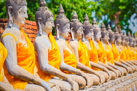 recognized: Buddha statues in Ayutthaya,Thailand. In 1767, the city was destroyed by the Burmese army. The ruins are preserved in Ayutthaya historical park, which is recognized as a UNESCO World Heritage Sit