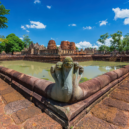 castle rock: Prasat Muang Tam historical park is Castle Rock old Architecture about a thousand years ago at Buriram Province,Thailand Stock Photo