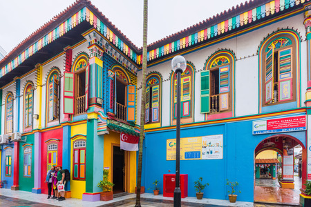 singapore city: ingapore city, Singapore - August 8, 2015: Colorful facade of building in Little India, Singapore.