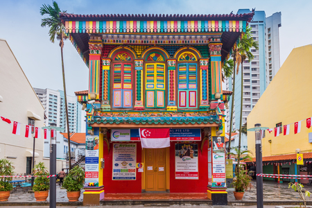 singapore culture: Singapore city, Singapore - August 8, 2015: Colorful facade of building in Little India, Singapore.
