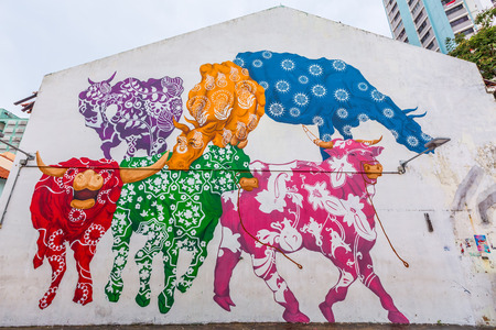 singapore: Singapore city, Singapore - August 8, 2015: Colorful painted walls and graffiti street art in the Little India neighborhood of Singapore. Editorial