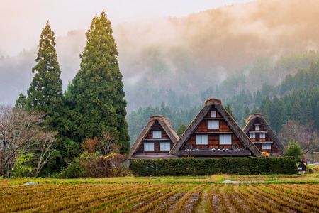 Traditional and Historical Japanese village Shirakawago in autumn season Stock Photo