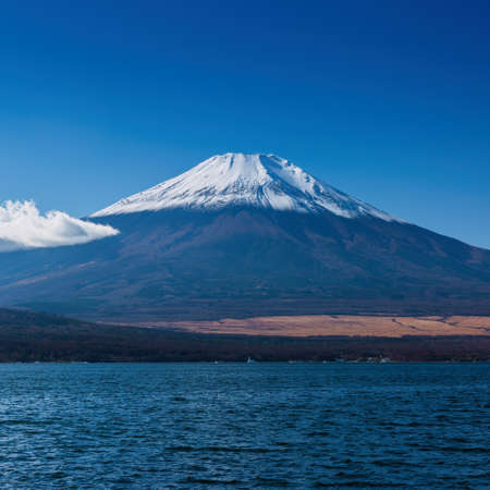 unesco: The sacred mountain of Fuji in the background of blue sky at Japan