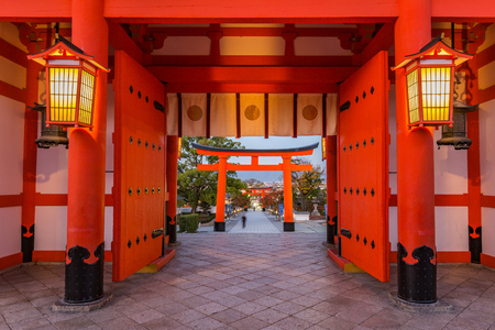 main gate: Main gate of Fushimi Inari-taisha shrine in Kyoto Stock Photo