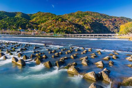 Togetsukyo bridge over Katsura river. Togetsukyo Bridge provides a panoramic view of Arashiyama.