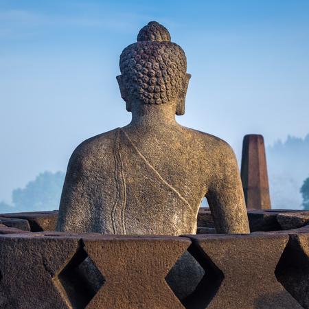 borobudur: Buddha statue at Borobudur temple, Java, Indonesia Stock Photo