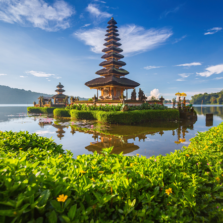 Pura Ulun Danu Bratan, or Pura Beratan Temple, Bali island, Indonesia. Pura Ulun Danu Bratan is a major Shivaite and water temple on Bali island, Indonesia.