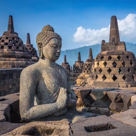Buddha statue in Borobudur Temple, Java island, Indonesia.