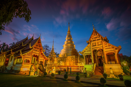 Wat Phra Singh temple in Chiang Mai Province ,Thailand, Imagens