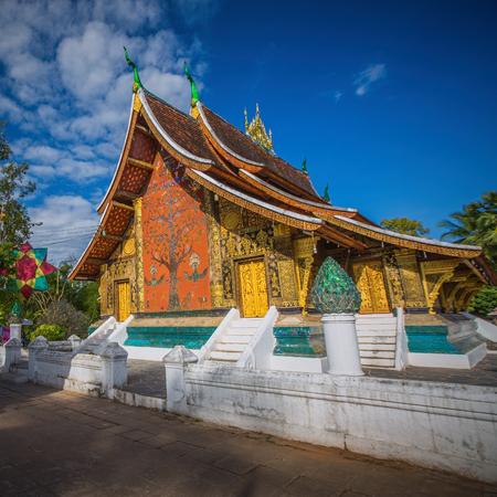 Wat Xieng Thong, The most important buddhist temple in Luang Prabang, Laos. Stock Photo
