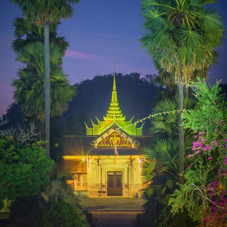 Facade of royal palace in Luang Prabang, Laos Editorial