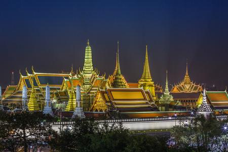 Grand palace and Wat phra keaw at night view in bangkok, Thailand