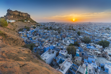 The Blue City and Mehrangarh Fort in Jodhpur. Rajasthan, India