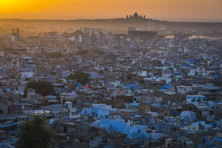 Cityscape of Jodhpur at sunrise in Rajasthan, India.Jodhpur is a significant city of western Rajasthan and lies about 250 kilometers from the border with Pakistan. Stock Photo