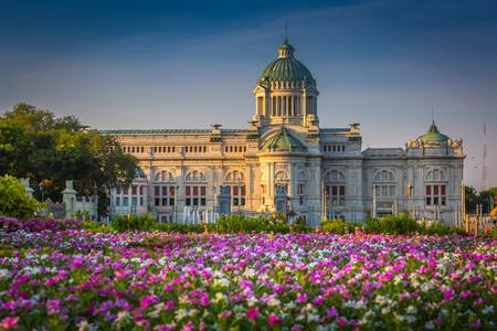The colorful flower field with Ananta Samakhom Throne Hall in the morning.Bangkok,Thailand