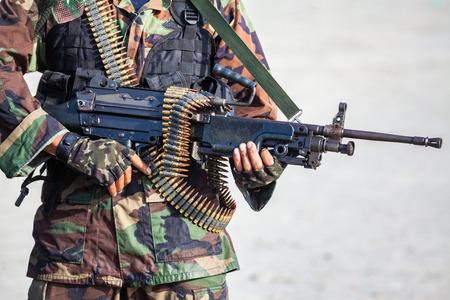 soldier in uniform with machine gun or assault rifle