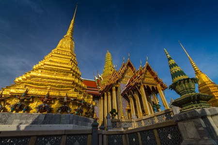 Wat Phra Kaew, Temple of the Emerald Buddha with blue sky Bangkok, Asia Thailand