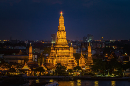 Wat Arun Temple at twilight in bangkok Thailand . Stock Photo