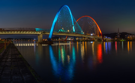 Colorful bridge and reflection Expo Bridge in Daejeon, South Korea. Stock Photo
