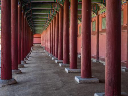 Traditional Korean architecture at Gyeongbokgung Palace in Seoul, South Korea.
