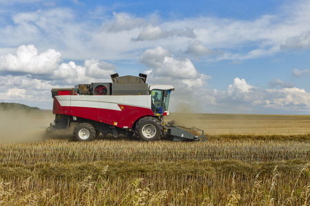 agricultural tenure: combine harvester. Stock Photo