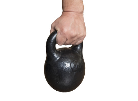 arm holding: arm holding a kettlebell.