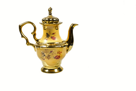 ware: pot kettle porcelain yellow gold plated.