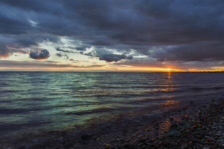beach sea sunset rays.