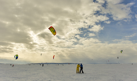 kiting: kiting in the snow. Stock Photo