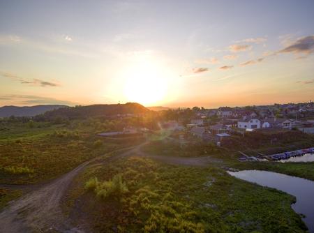 sunset over the river. 免版税图像