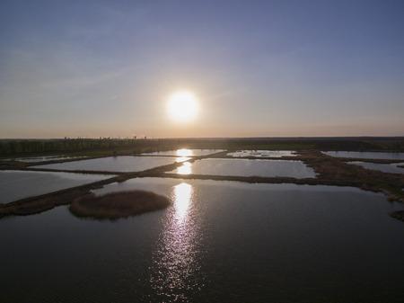 artificial pond sunset.