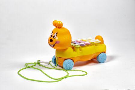 toy children's musical caterpillar on a white background.