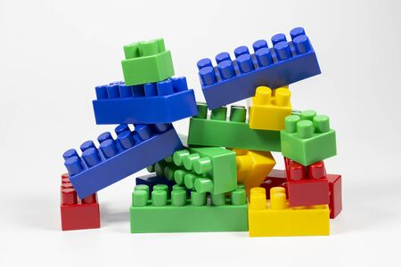 Designer children's pile of blocks. 免版税图像