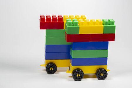 Children's designer blocks red green blue.