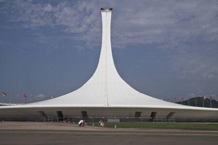 pedestal: Pedestal of Olympic flame in Sochi. Editorial