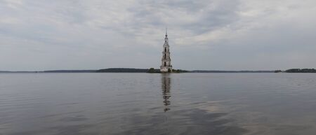 st nicholas cathedral: Volga near the city of Kalyazin Russia. A belltower of the St. Nicholas Cathedral flooded with a reservoir in 1940. Stock Photo