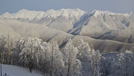 skiers: View of Esto-Sadok Sochi, Russia from the funicular lifting skiers on ski slopes.