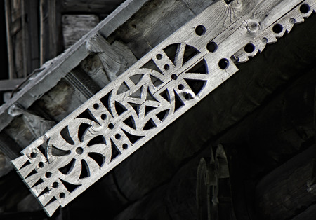 The northern ornament is executed by method of woodcarving by masters of the reserve Kizhi Russia. Standard-Bild