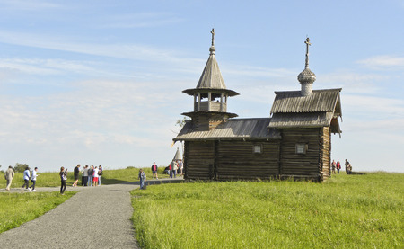 Wooden medieval church on the island of Kizhi in Russia.
