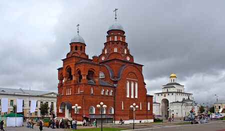 The red church about Golden Gate is located in the center of Vladimir Russia.