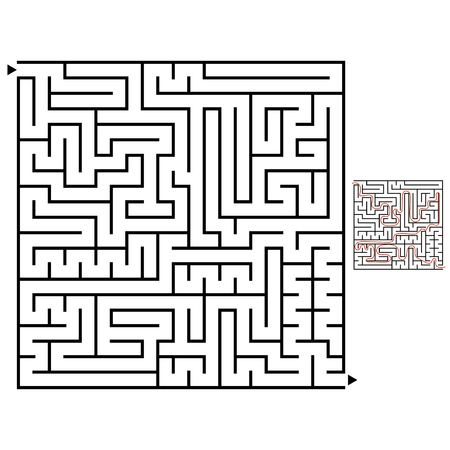 Abstract square labyrinth with a black stroke. An interesting game for children and adults. Simple flat vector illustration isolated on white background. With the answer.