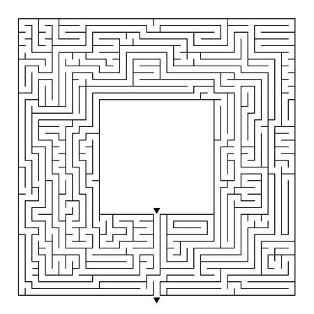 Een enorm vierkant labyrint met een ingang en een uitgang. Eenvoudige platte vectorillustratie geïsoleerd op een witte achtergrond. Met een plek voor je tekeningen Stockfoto - 99197557