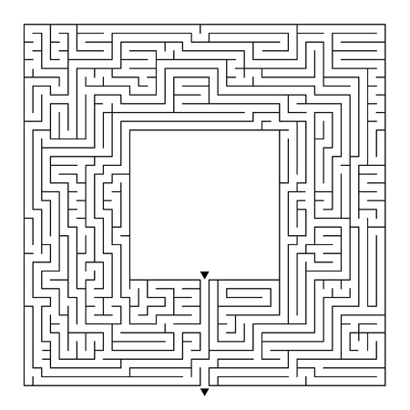 A huge square labyrinth with an entrance and an exit. Simple flat vector illustration isolated on white background. With a place for your drawings Illustration