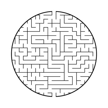 A round labyrinth with an entrance and an exit. Simple flat vector illustration isolated on white background. With a place for your image Illustration