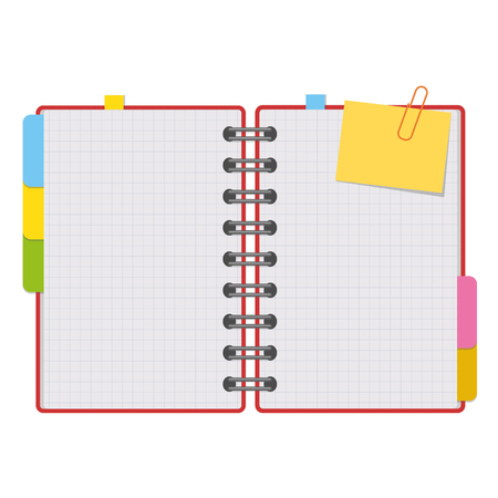 Abra el bloc de notas con hojas limpias en espiral con marcadores entre las páginas. Ilustración de vector plano colorido aislado sobre fondo blanco. Con espacio para texto o imagen.