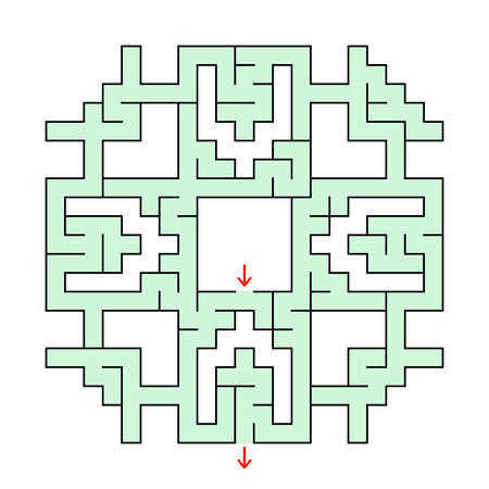 A simple flat illustration of a colorful square fantastic labyrinth with an input and an exit isolated in white. Ilustração