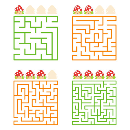 A square labyrinth with an entrance and an exit. A set of four options from simple to complex. With a rating of cute cartoon mushrooms. Vector illustration isolated on white background. Illusztráció