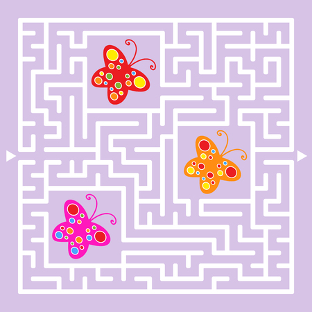 A square labyrinth. Collect all the butterflies and find a way out of the maze. Simple flat isolated vector illustration