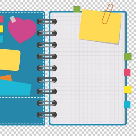 Otwórz notatnik z czystymi kartkami na spirali z zakładkami między stronami. Ilustracja kolorowy wektor płaski na przezroczystym tle. Z miejscem na tekst lub obraz